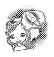 woman with speech bubble rocket pop art vector image vector image