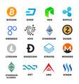 criptocurrency icon set vector image