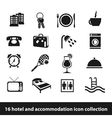 16 hotel and accommodation icon collection vector image