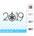 2019 year numeric simple black line icon vector image vector image