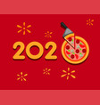 2020 new year with pizza greeting in typography vector image vector image