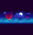 air balloons flying at night sky with full moon vector image