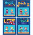 back to school set of posters with pupils at desks vector image