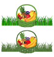 Basket-with-Fruits color vector image vector image