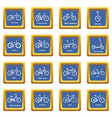 bicycle types icons set blue square vector image