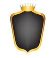 black shield and crown vector image vector image