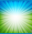 blue and green sunburst background vector image vector image