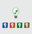 Bulb with green leafs icons vector image vector image