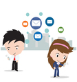 businessman and woman working on internet mail vector image
