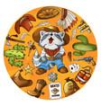 cartoon character cowboy raccoon set of classic vector image