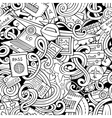 Cartoon doodles travel planning seamless pattern vector image vector image