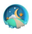 cartoon paper night landscape moon star cloud vector image vector image