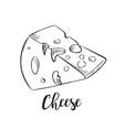 cheese line art handdrawn vector image
