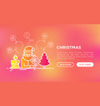 christmas concept with thin line icons vector image vector image