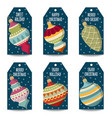 christmas labels collection with christmas balls vector image