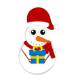 christmas snowman character holding a present vector image vector image