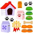 colorful cartoon pet care 13 icon set vector image vector image