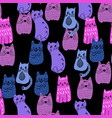 colorful doodle style cats group vector image vector image
