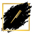 comb sign golden icon at black spot vector image vector image