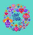 day dead mexican sugar skull icon card vector image vector image
