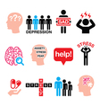 Depression stress icons set - mental health conce vector image