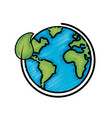 earth planet with ecological leaf design vector image vector image