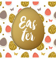 easter card with golden and pink eggs vector image vector image