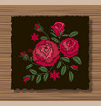 embroidery stitches with roses and sprigs on a vector image vector image
