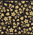 fashion golden flowers seamless pattern design vector image