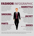fashion infographic with man in smoking vector image vector image