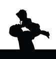 father playing with daughter silhouette vector image vector image