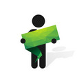 figure man holds green label vector image vector image