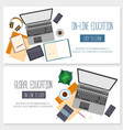 Flat design banners for online education vector image vector image