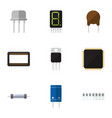 flat icon technology set of mainframe transistor vector image vector image