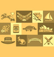 flat set of australian travel icons vector image