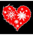 folk red heart with flowers vector image vector image