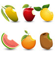 Fruits are bite marks isolated on white background vector image