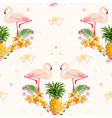 Geometric Pineapple and Flamingo Background vector image vector image