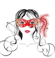 girl in a carnival mask vector image