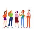 group young women girls standing and smiling vector image vector image