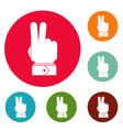 hand hey icons circle set vector image
