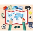 hands paper map of world and tourist equipment vector image vector image