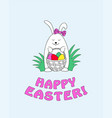 happy easter with funny bunny vector image vector image