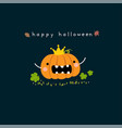 happy halloween card with cute pumpkin cartoon vector image vector image