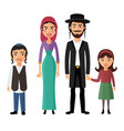 jewish family flat cartoon concept vector image