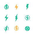 lightning bolt signs on white vector image vector image