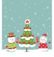 Loving couple of snowmen vector image vector image