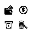 money coins and dollar simple related icons vector image vector image