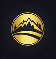 mountain icon round gold logo vector image vector image