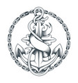 nautical tattoo with anchor and ribbon vector image vector image